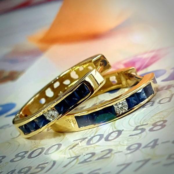 Серьги кольца с сапфирами и бриллиантами