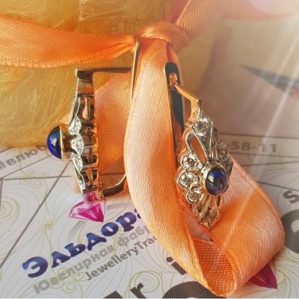 Серьги из комбинированного золота с сапфирами и бриллиантами