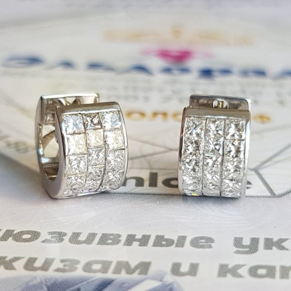 Серьги из белого золота с бриллиантами invisible