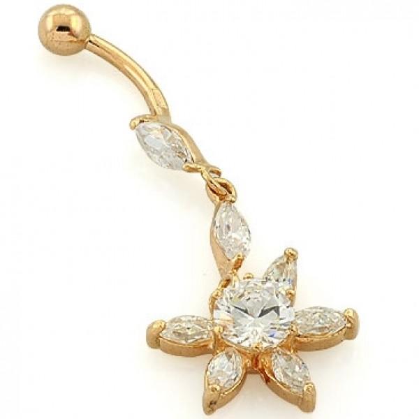 Серьга для пирсинга из желтого золота с бриллиантами и алмазами
