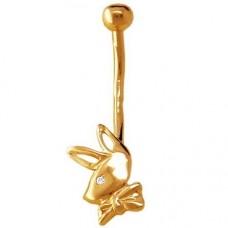 Серьга для пирсинга из желтого золота с бриллиантом