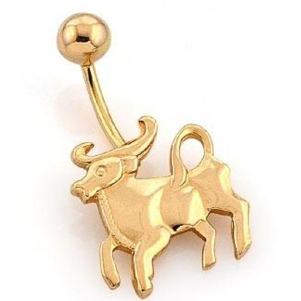 Серьга для пирсинга из желтого золота