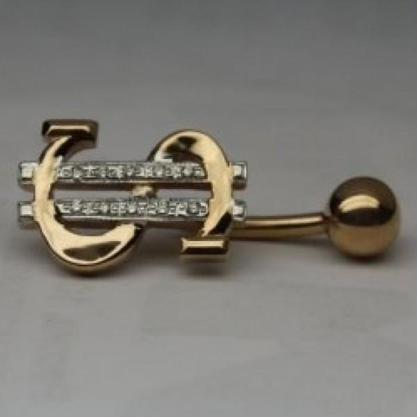 Серьга для пирсинга из комбинированного золота с бриллиантами