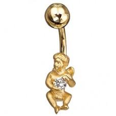 Серьга для пирсинга из комбинированного золота с бриллиантом