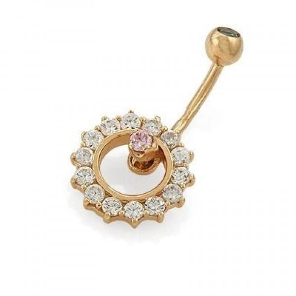 Серьга для пирсинга из красного золота с бриллиантами