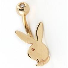 """Серьга для пирсинга """"Playboy"""" из красного золота с бриллиантом"""
