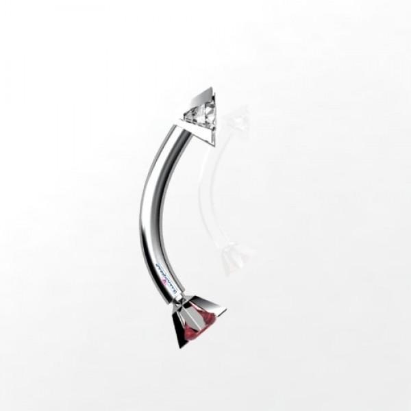 Серьга для пирсинга в бровь из белого золота с бриллиантом и рубином