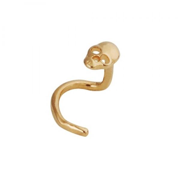 Серьга для пирсинга в нос из желтого золота 'Череп'