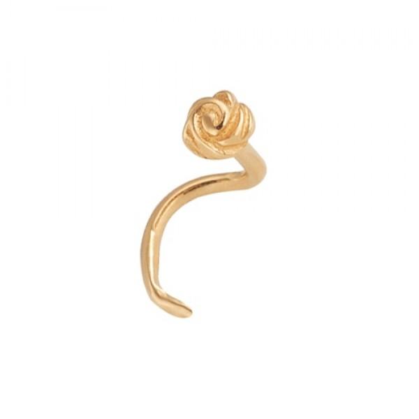 Серьга для пирсинга в нос из желтого золота 'Роза'