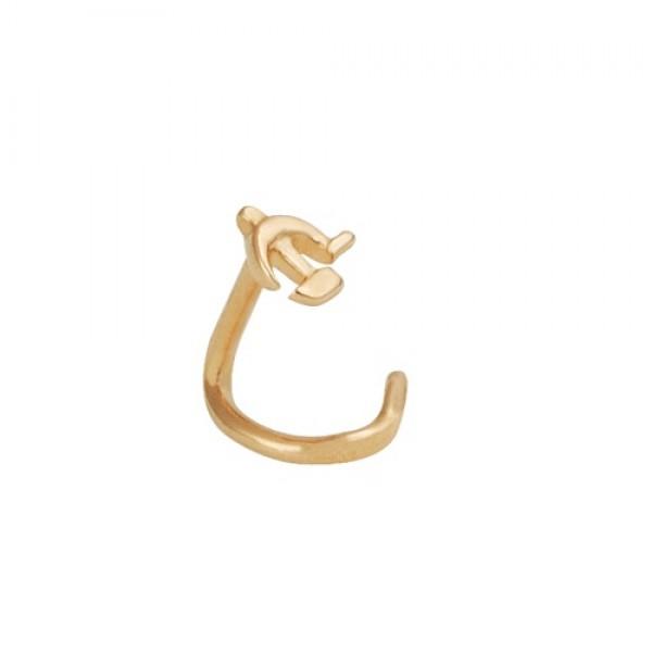 Серьга для пирсинга в нос из желтого золота 'Серп и молот'
