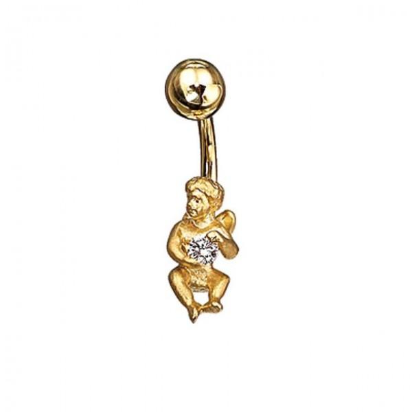 Серьга для пирсинга в пупок 'Ангел' из желтого золота с бриллиантом