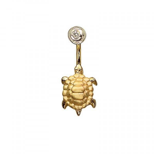 Серьга для пирсинга в пупок 'Черепашка' из желтого золота с бриллиантом