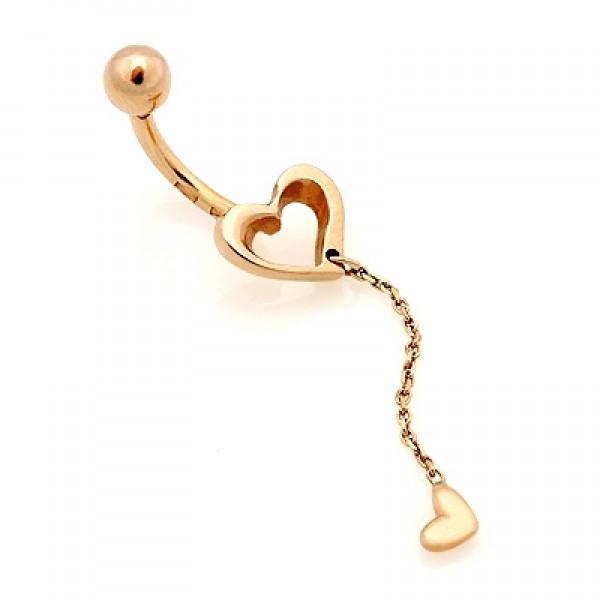 Серьга для пирсинга в пупок 'Два сердечка' из желтого золота
