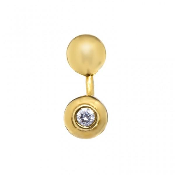 Серьга для пирсинга в пупок из желтого золота с бриллиантом