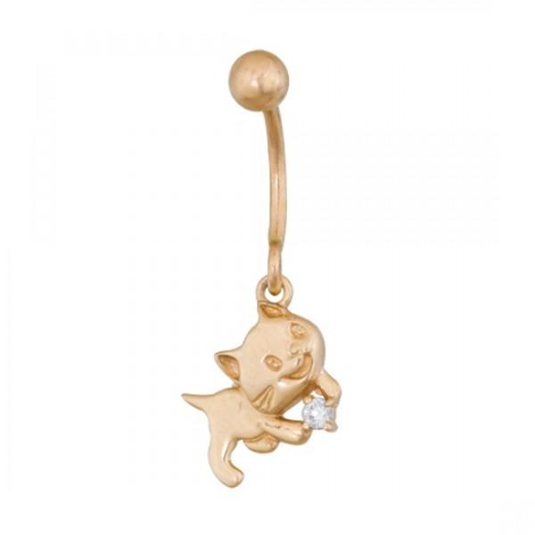 Серьга для пирсинга в пупок 'Котенок' из красного золота с бриллиантом