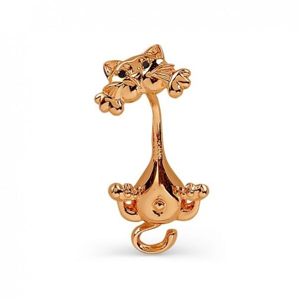 Серьга для пирсинга в пупок 'Котик' из красного золота