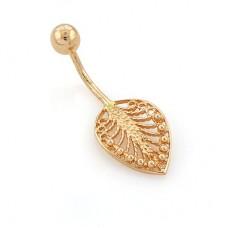Серьга для пирсинга в пупок 'Листик' из желтого золота