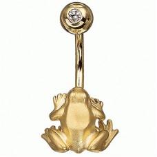 Серьга для пирсинга в пупок 'Лягушка' из желтого золота с бриллиантом