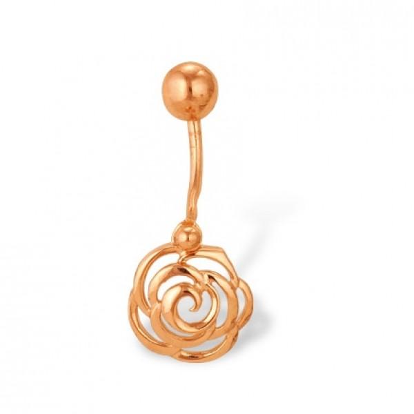 Серьга для пирсинга в пупок 'Роза' из красного золота