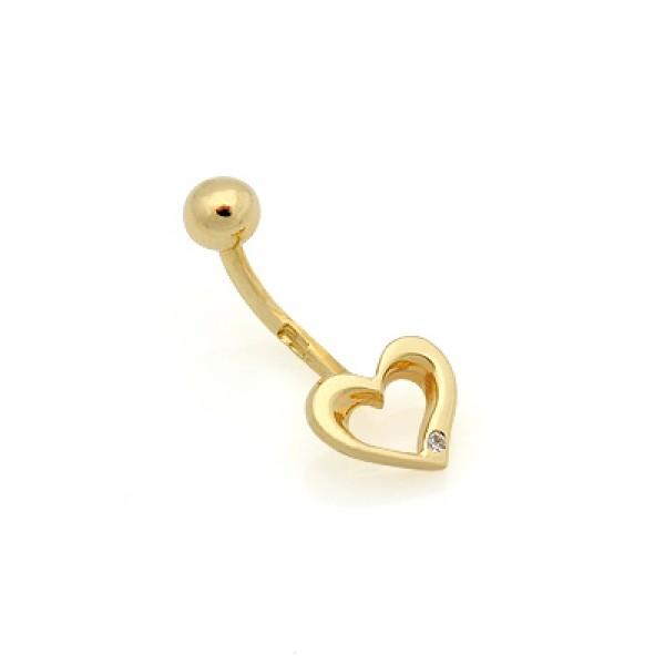 Серьга для пирсинга в пупок 'Сердечко' из желтого золота с бриллиантом