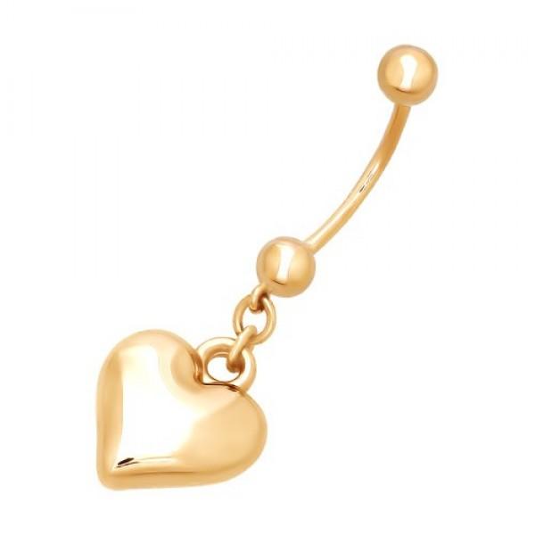 Серьга для пирсинга в пупок 'Сердечко' из желтого золота