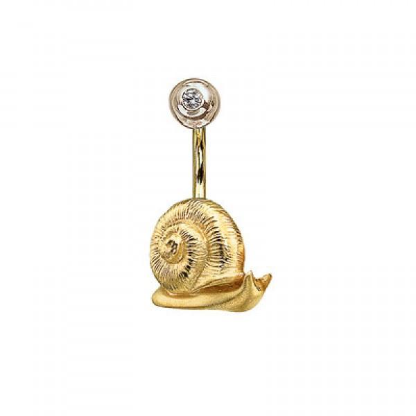 Серьга для пирсинга в пупок 'Улитка' из желтого золота с бриллиантом