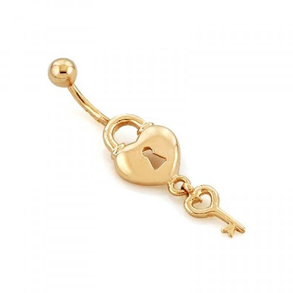 Серьга для пирсинга в пупок 'Замочек с ключиком' из желтого золота