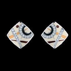 Серьги из белого золота с бриллиантами и эмалью