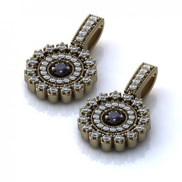 Серьги из белого золота с бриллиантами и сапфирами