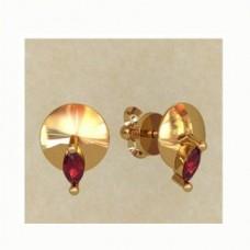 Серьги из желтого золота c рубинами