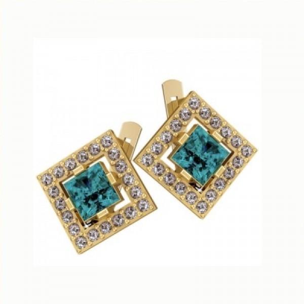 Серьги из желтого золота с алмазами и бриллиантами