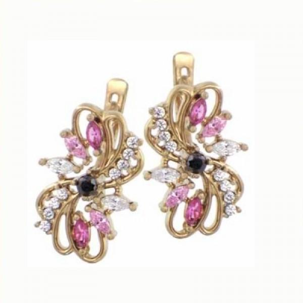 Серьги из желтого золота с алмазами, рубинами и бриллиантами