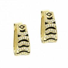 Серьги из желтого золота с бриллиантами и эмалью