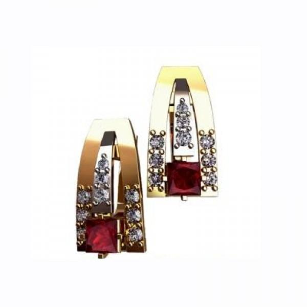 Серьги из желтого золота с бриллиантами и рубинами