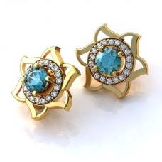серьги из желтого золота с бриллиантами и топазами
