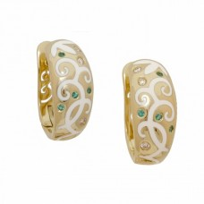Серьги из желтого золота с бриллиантами, изумрудами и эмалью