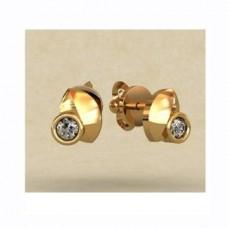 Серьги из желтого золота с бриллиантами..