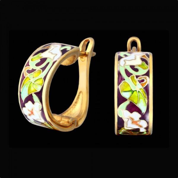 Серьги из желтого золота с эмалью