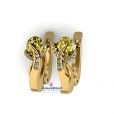 Серьги из желтого золота с гелиодором и бриллиантами..