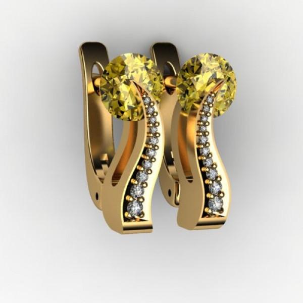 Серьги из желтого золота с гелиодором и бриллиантами