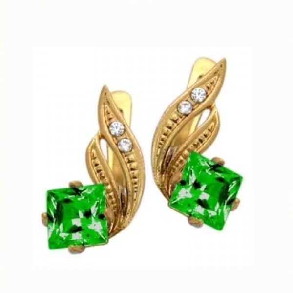 Серьги из желтого золота с изумрудами и бриллиантами