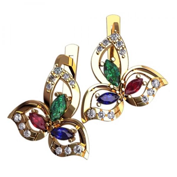 Серьги из желтого золота с изумрудами, рубинами, сапфирами и бриллиантами