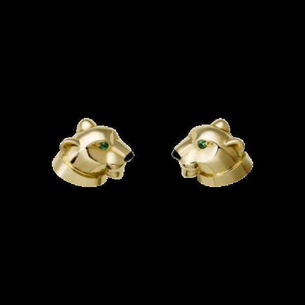 Серьги из желтого золота с изумрудами