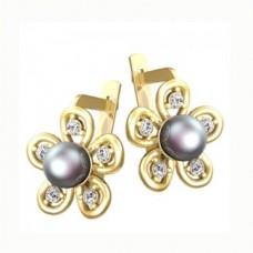 Серьги из желтого золота с жемчугом и бриллиантами