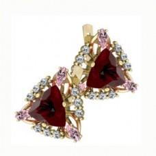 Серьги из желтого золота с рубинами алмазами и бриллиантами