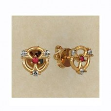 Серьги из желтого золота с рубинами и бриллиантами