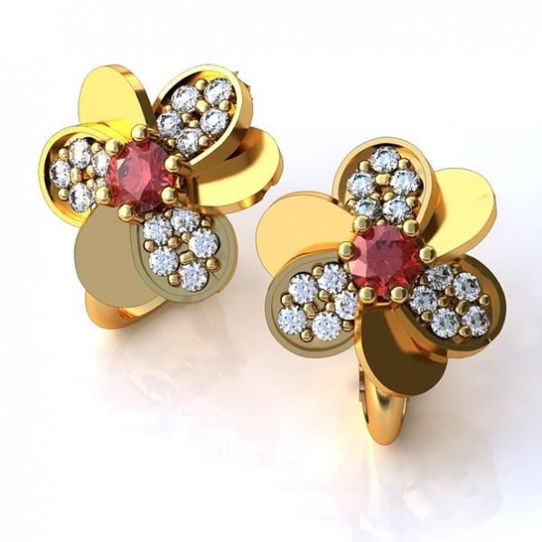 Серьги из желтого золота с рубином и бриллиантами