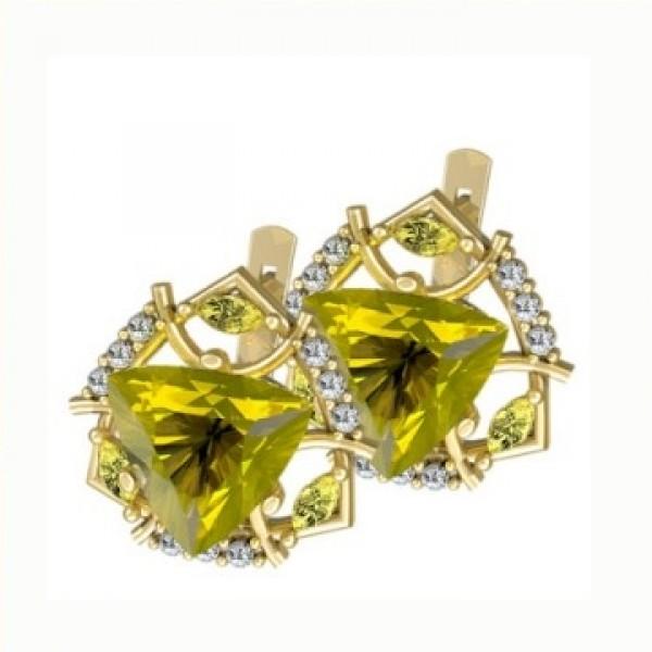 Серьги из желтого золота с сапфирами и бриллиантами