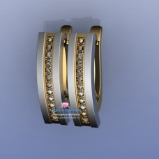 Серьги из комбинирого золота с бриллиантами..