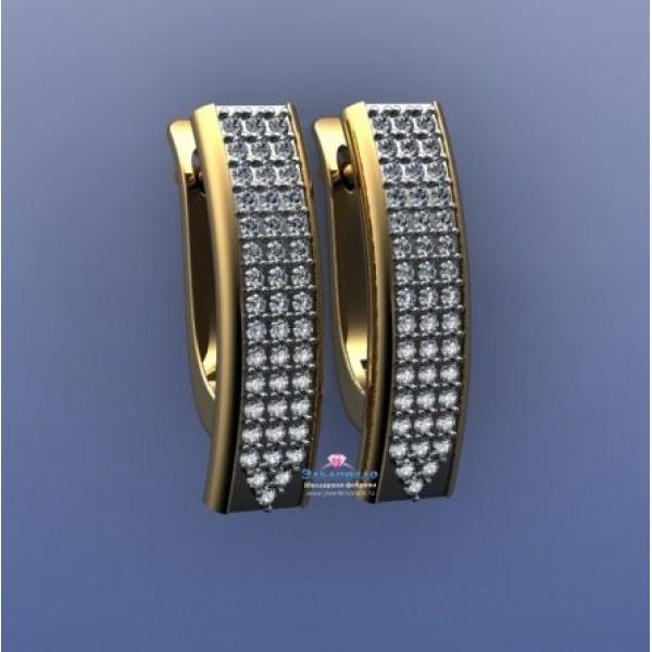 Серьги из комбинирого золота с бриллиантами
